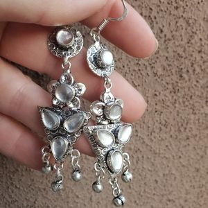 New Natural Moonstone Silver Statement Earrings.